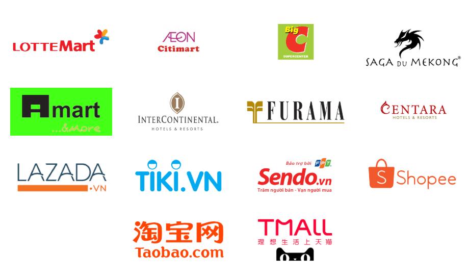 Các đối tác siêu thị và trung tâm thương mại của Huca Food