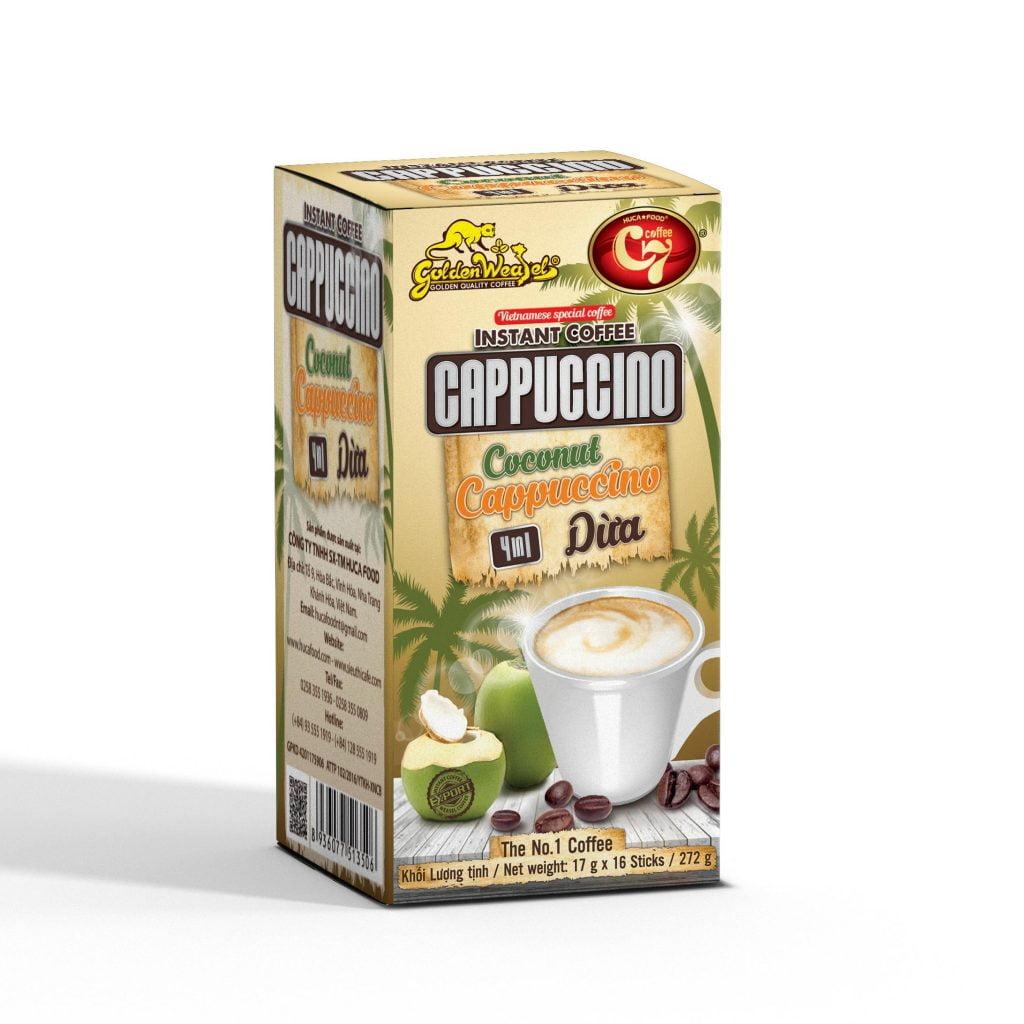 Cà phê dừa là gì? - cà phê cappuccino dừa là gì? - cafe dừa hòa tan, cappuccino dừa 4in1