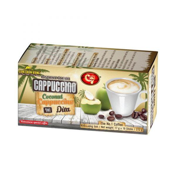 Cà Phê Cốt Dừa Hòa Tan 4in1 Cappuccino Con Chồn Vàng C7 1. Cà phê hòa tan - Instant coffee 4