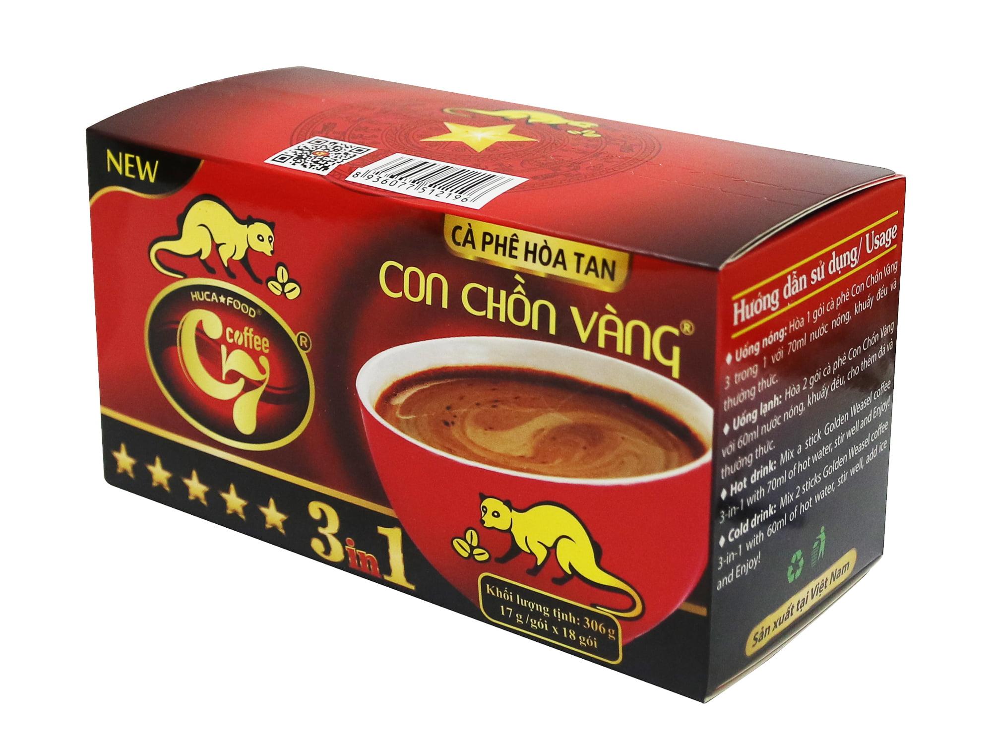 Cà Phê Hòa Tan 3in1 Con Chồn Vàng C7 (17gr x 18 gói) - Huca Food.