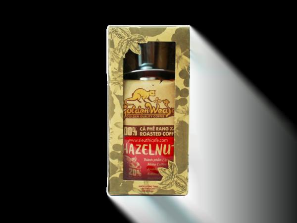 Cà phê rang xay CON CHỒN VÀNG HAZELNUT (hương hạt dẻ) Hộp kraft bóng kính 250gr.