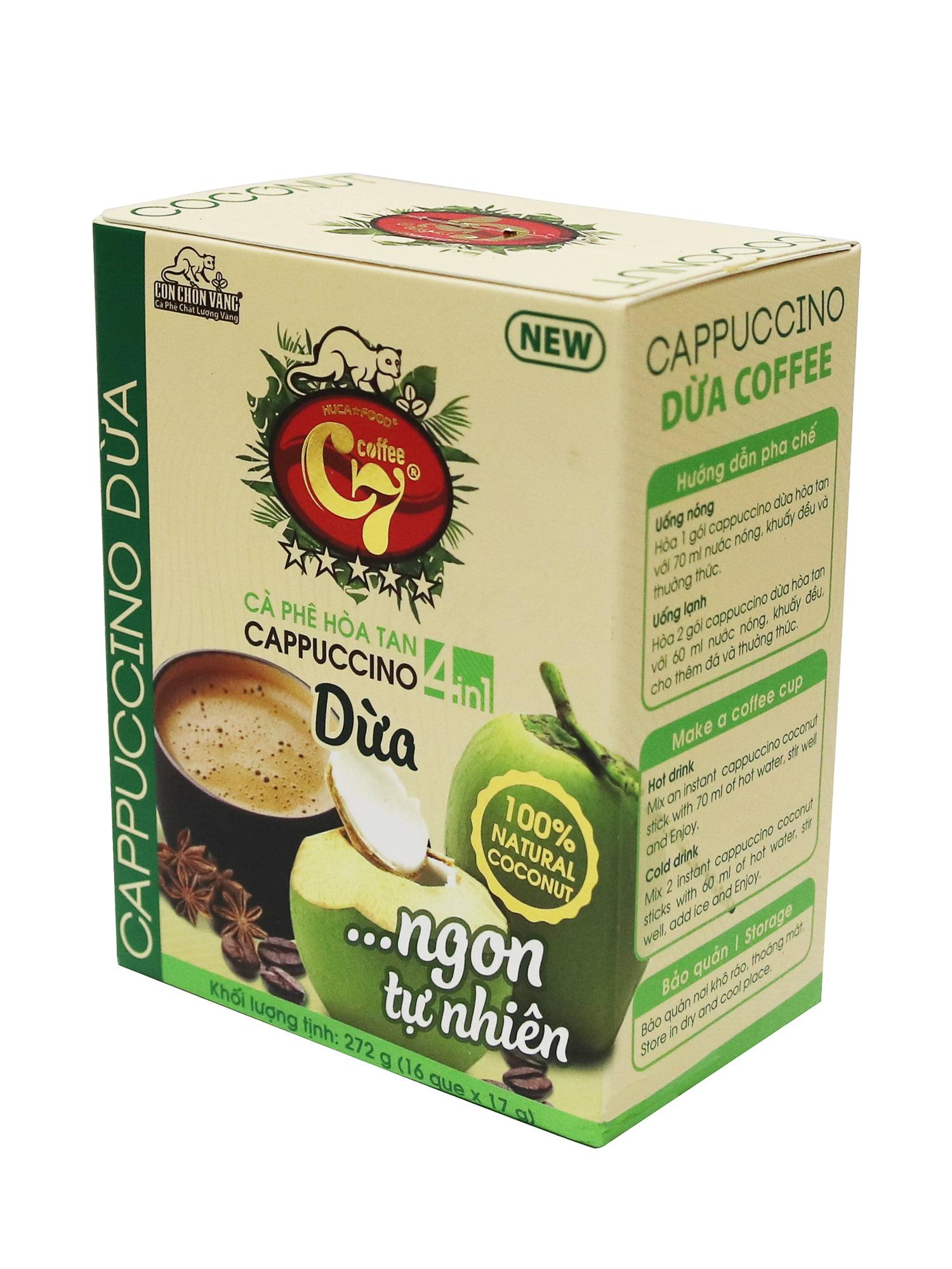 Cà phê dừa hòa tan 4in1 cappuccino - Huca Food, instant cofee, 4in1 instant coffee