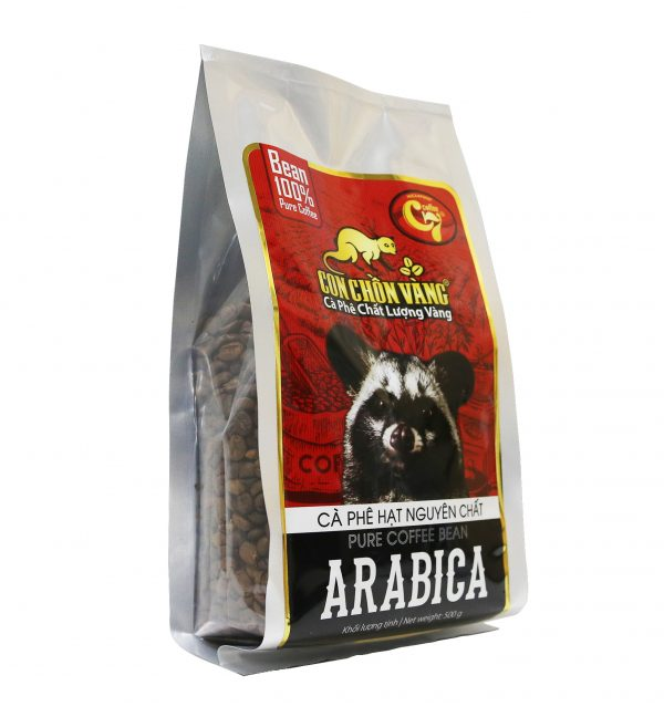 Cà Phê Hạt Arabica Rang Mộc Con Chồn Vàng – Túi 500Gr 4. Cà phê rang nguyên hạt 2
